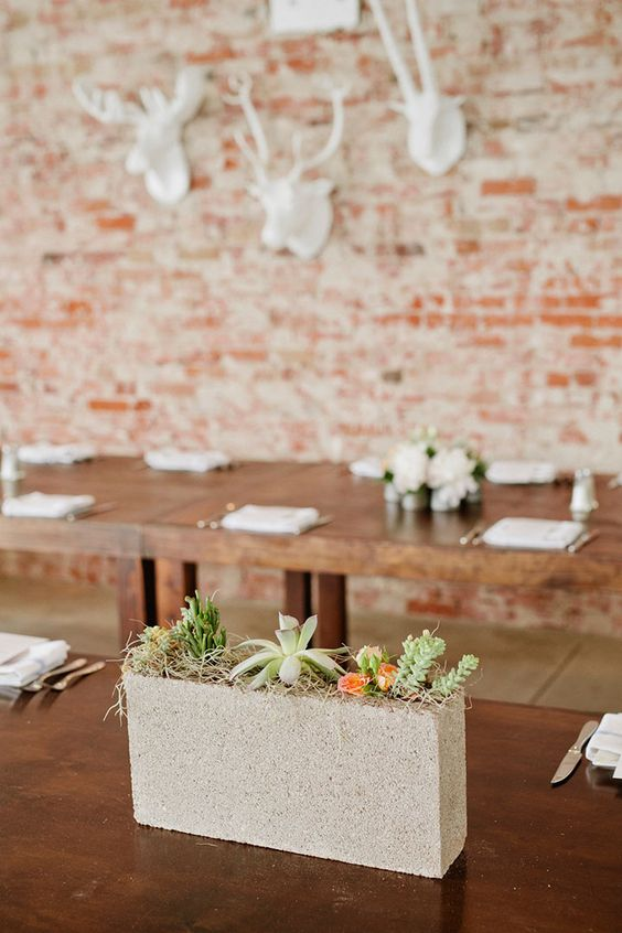 Narrow Concrete Cinder Block with Succulents – shared on Mon Cheri Bridals
