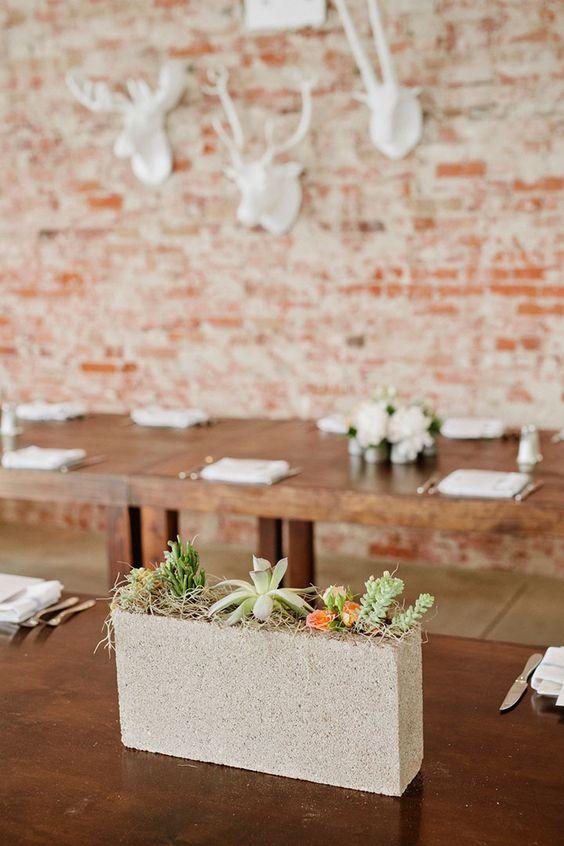 Narrow Concrete Cinder Block With Succulents U2013 Shared On Mon Cheri Bridals