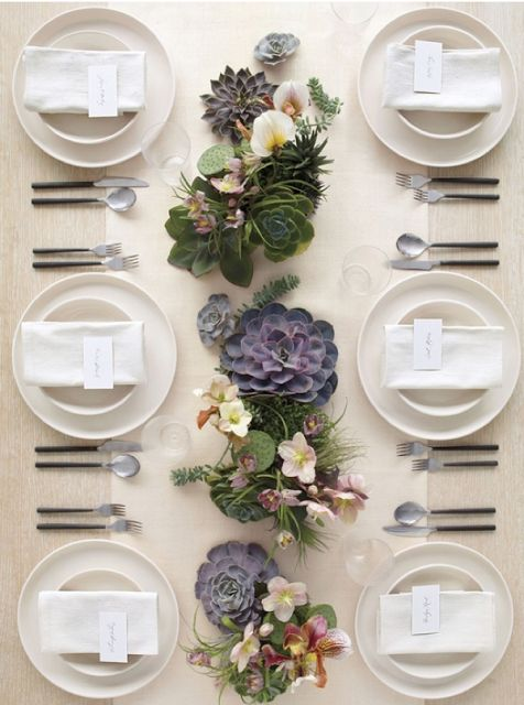 Simple Succulent Table Decor and Centerpiece