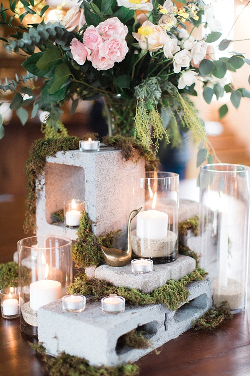 Whimsical Cinder Block Centerpiece with Candles and Moss Accents – shared by Paisley & Jade