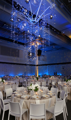 Bubble and Disco Ball Hanging Event Decor Installation – shared on BizBash
