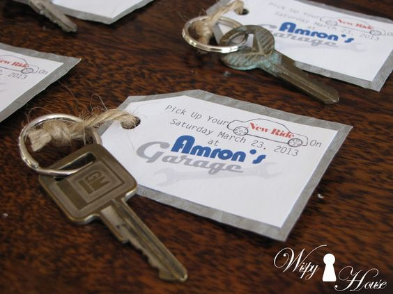 Classic Car Keys Invitations - shared on Wispy House