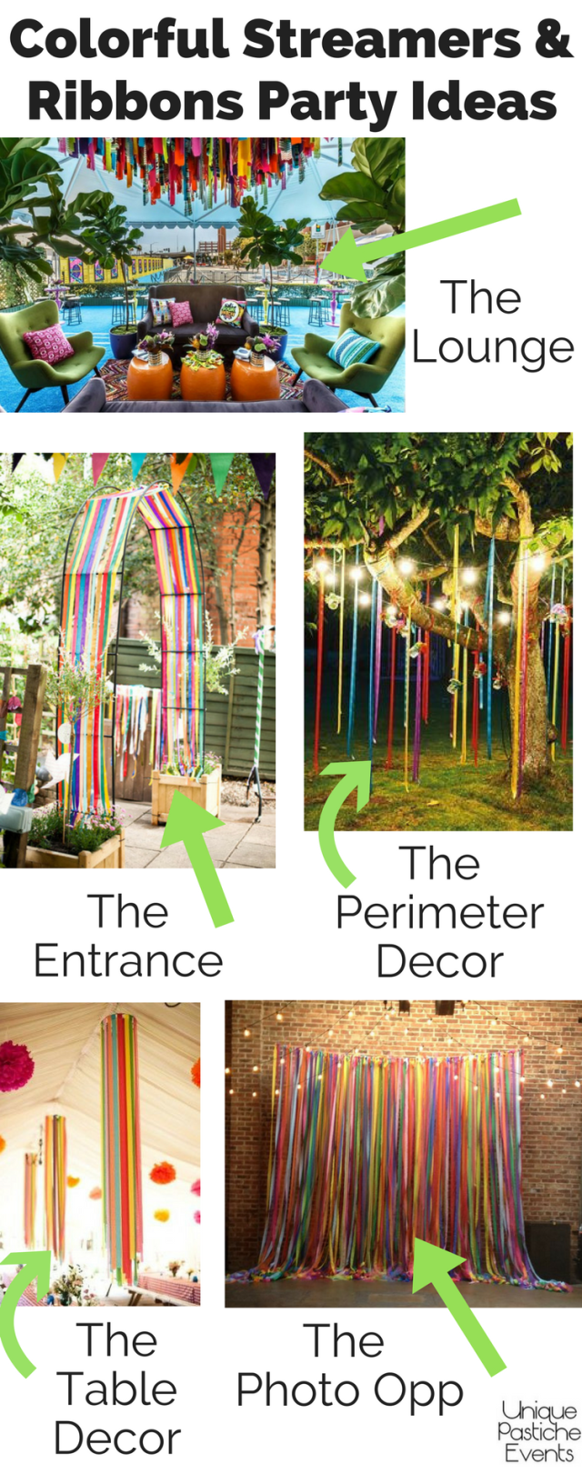 Colorful Streamers and Ribbons Party Ideas