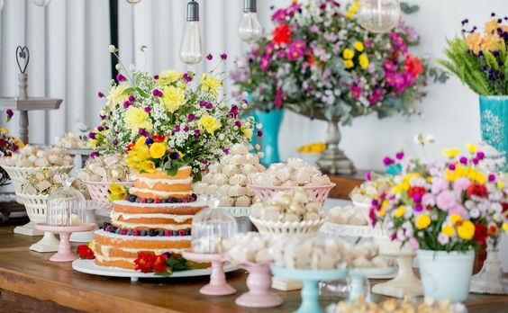 Colorful Wildflower Dessert Table Display