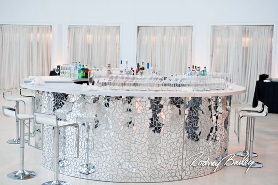 Disco Ball Mirror Mosaic Curved Bar in White