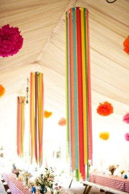 Hanging Rainbow Ribbon and Streamer Table Decor – shared in a roundup post by Felt Magnet