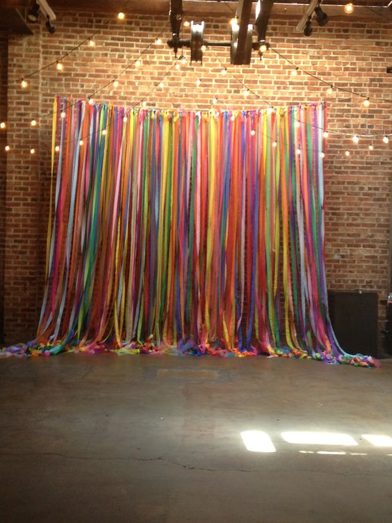 Multi-Color Streamer Ribbon Photo Backdrop with String Lights
