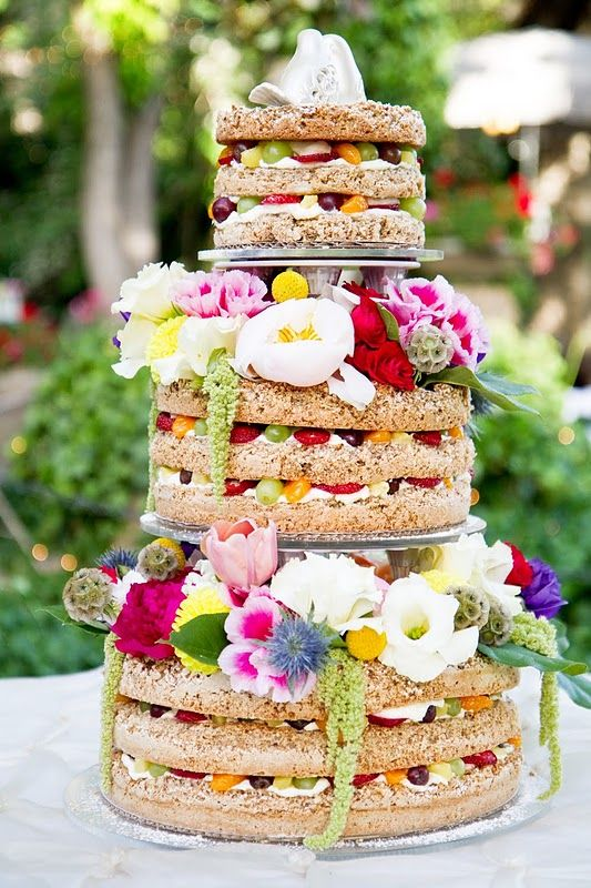 Naked Tiered Fruit Cake with Fresh Colorful Flowers – shared by Blossom Sweet