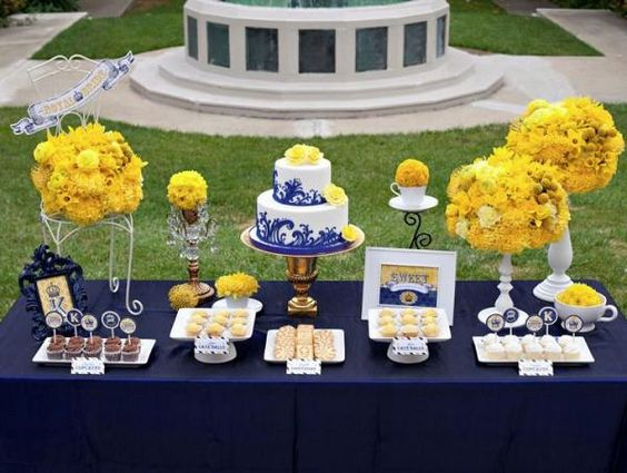 Navy Blue and Sunshine Yellow Summer Party Dessert Table – shared in a roundup post by Deer Pearl Flowers