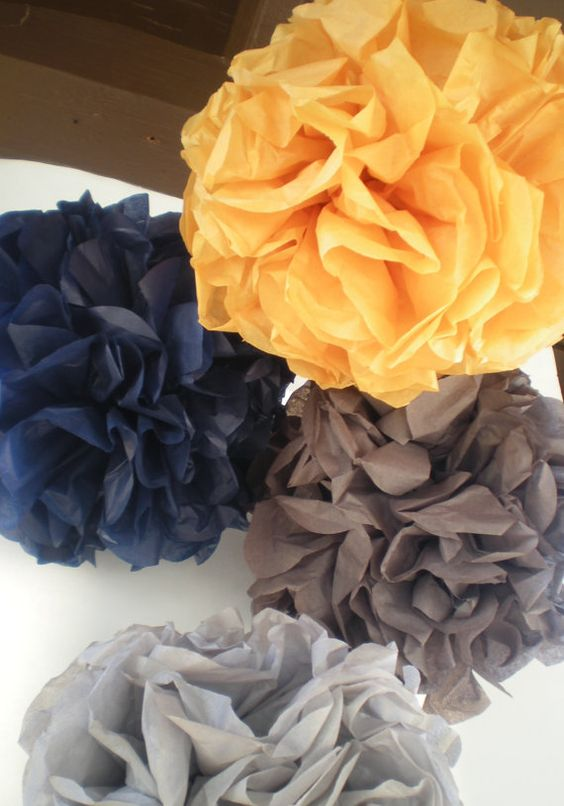 Navy Blue, Mustard Yellow, and Gray Pom Poms – created and sold by DellaCartaDecor on Etsy