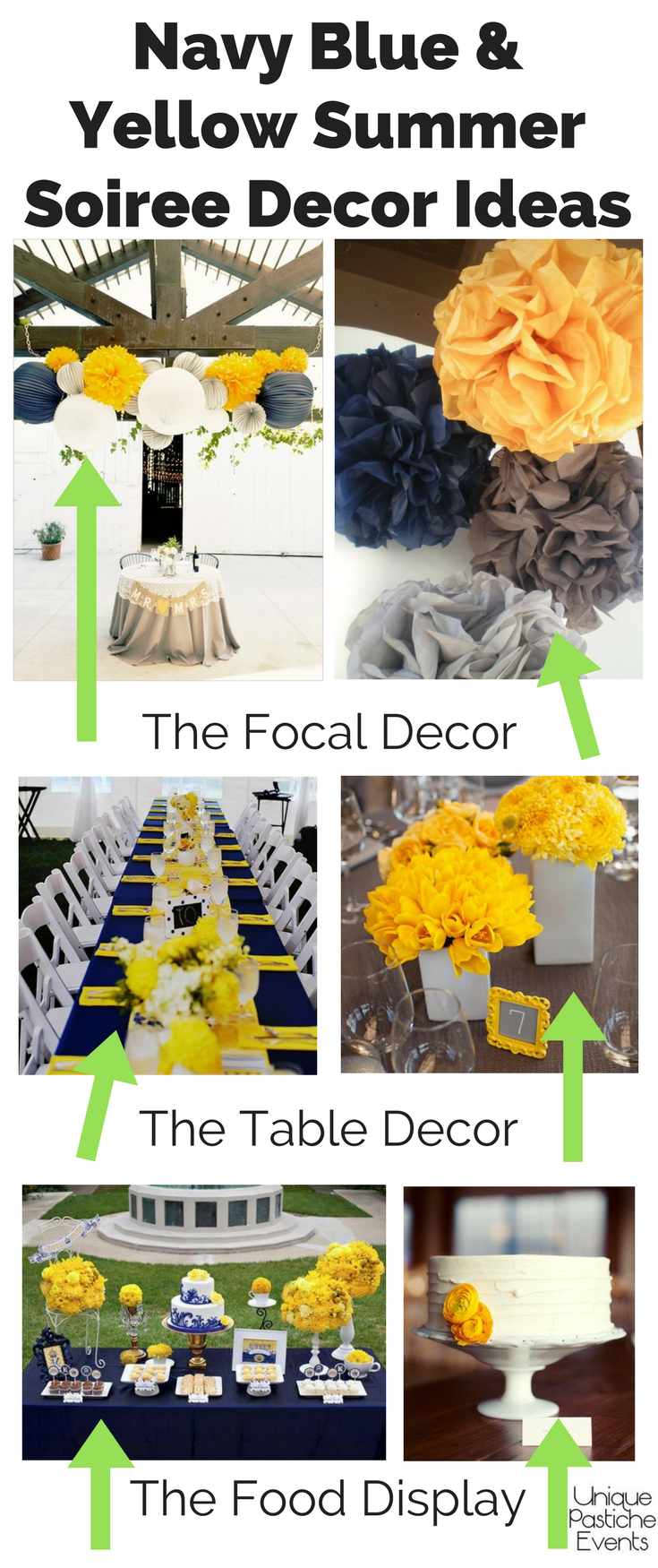 Navy Blue and Sunshine Yellow Summer Soiree Ideas