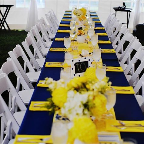Sunshine Yellow and Navy Blue Tablecloth Estate Table Decor – shared on The Knot