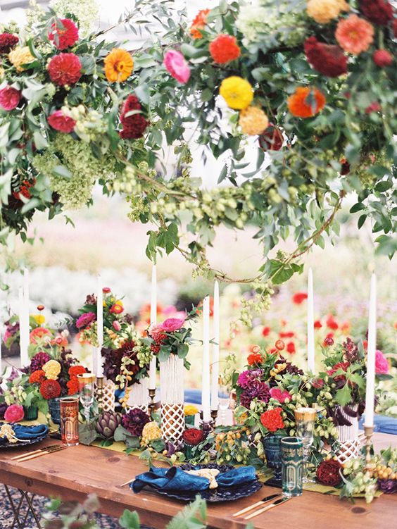 Wildflower and Greenery Boho Tablescape with Candles