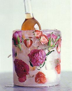 Wine Ice Bucket with Frozen Flowers – shared on Flickr