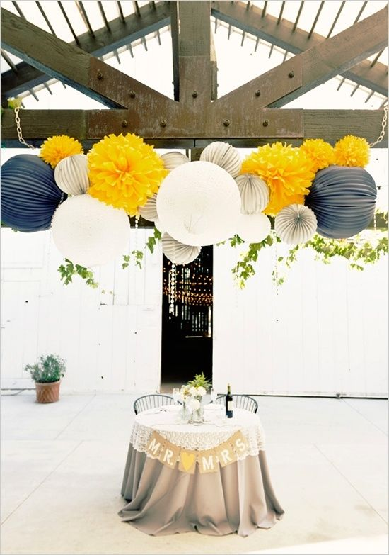 Yellow, Navy Blue, and Gray Pom Pom and Paper Sphere Decor – shared on Indulgy