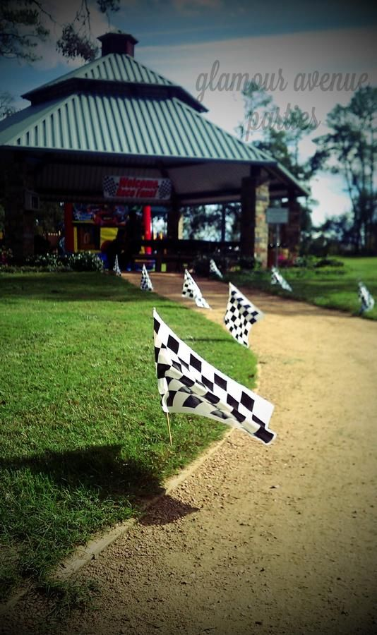 Checker Race Flag Lawn Accent Entrance – shared on Hostess with the Mostess