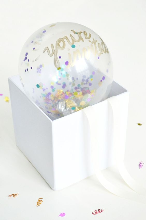 DIY Confetti Balloon Invites – shared by DIYs