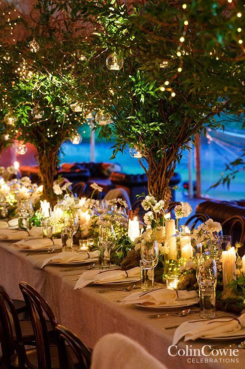 Enchanted Garden Tables Decor and Centerpieces with Lush Greens and Candles