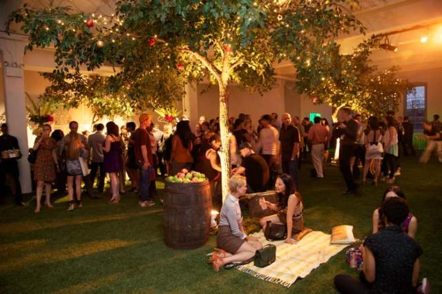 Indoor Apple Grove Garden Reception Lounge Space with Grass and Trees – shared on BizBash