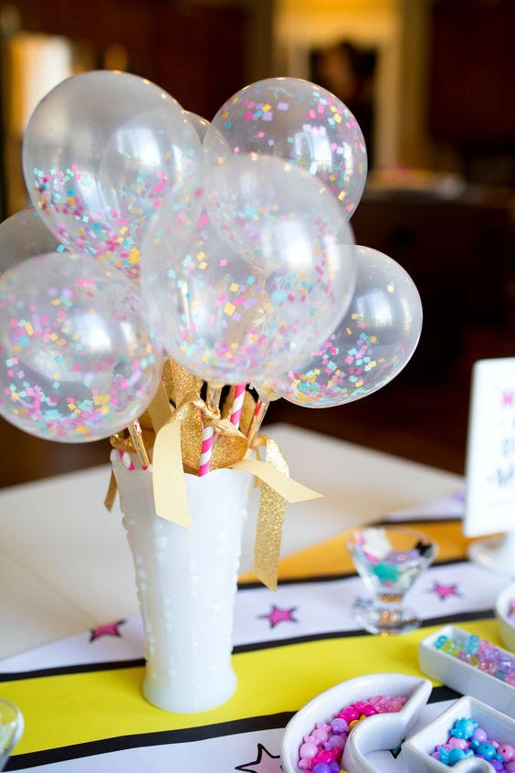 Mini Confetti Balloon Centerpiece – shared by Modern Moments