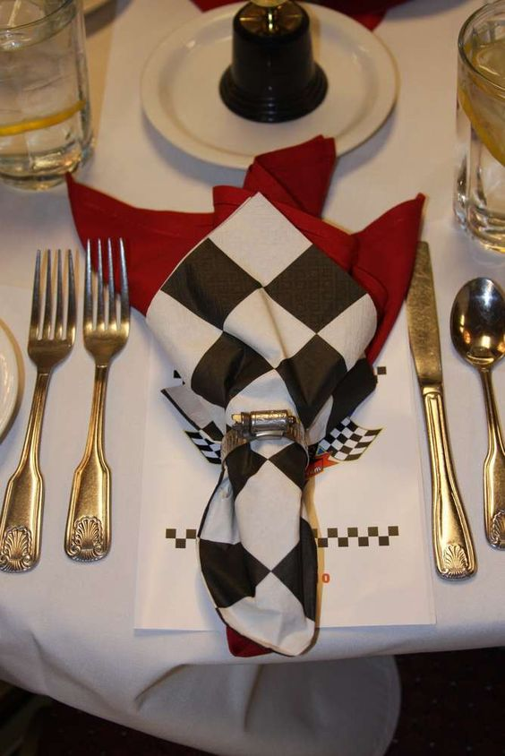 NASCAR Party Checker Flag Place Setting and Napkin – shared by Stacy T_s Fundraiser on Catch My Party