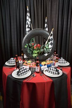 NASCAR Themed Race Centerpiece with Tire and Checker Flags