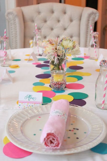 Rainbow Confetti Table Runner and Accents – shared by Mirabelle Creations