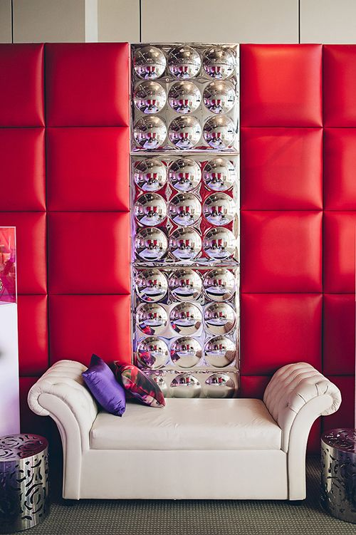 Red and White Lounge with Silver Metal Accents – available through AFR Events