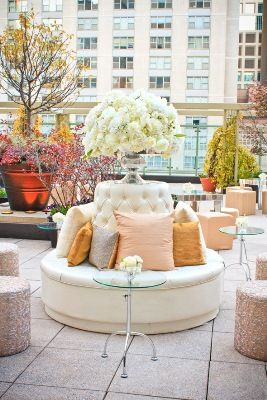 Blush Pink Sequin and White Reception Lounge Seating