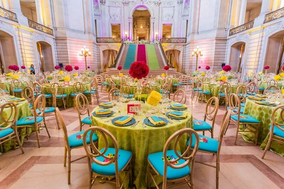 Chartreuse Green, Turquoise Blue and Wood Colorful Dinner Reception and Tablescapes – linens by BBJ