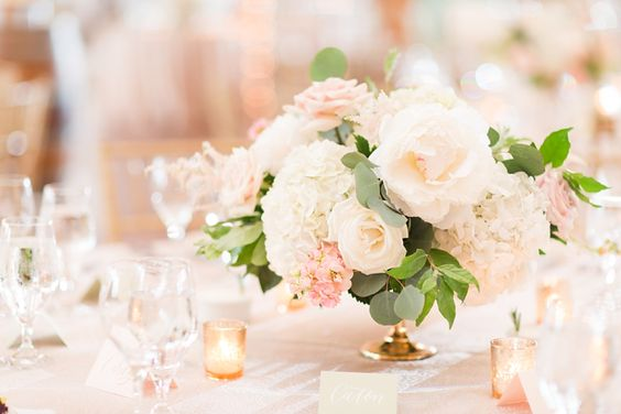 Ivory White and Blush Pink Hydrangea and Rose Simple Centerpiece with Green Foliage Accents – shared by Katelyn James