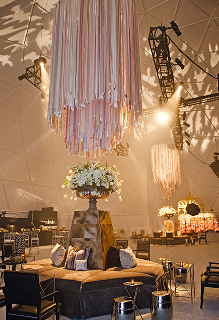 Ribbon Chandelier in Shades of Pink and Blush – shared by Todd Events