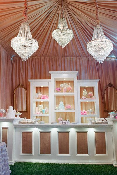 Tented Blush Pink Draped Bar with Crystal Chandelier Accents