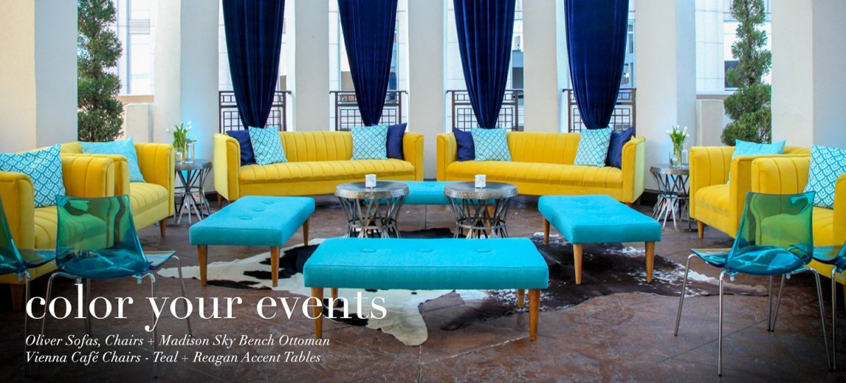 Turquoise Blue, Yellow and Dark Royal Blue Event Reception Lounge – furniture by AFR Events