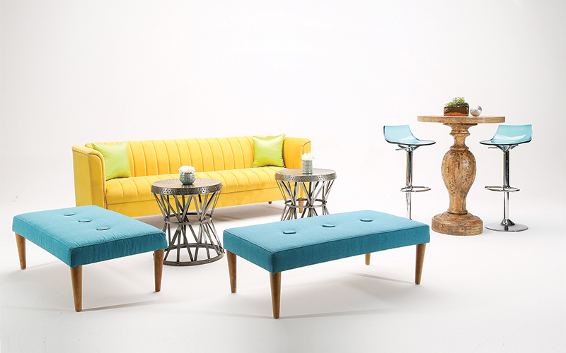 Turquoise Blue, Yellow and Dark Royal Blue Event Reception Lounge Concept – furniture by AFR Events
