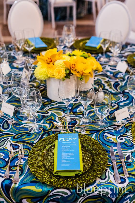 Yellow, Blue, Green, and White Paisley Tablescape – shared by Blueprint Studios